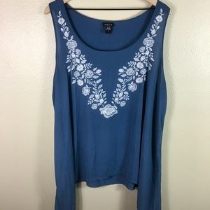 EUC- Torrid Blue Embroidered Sleeveless Blouse